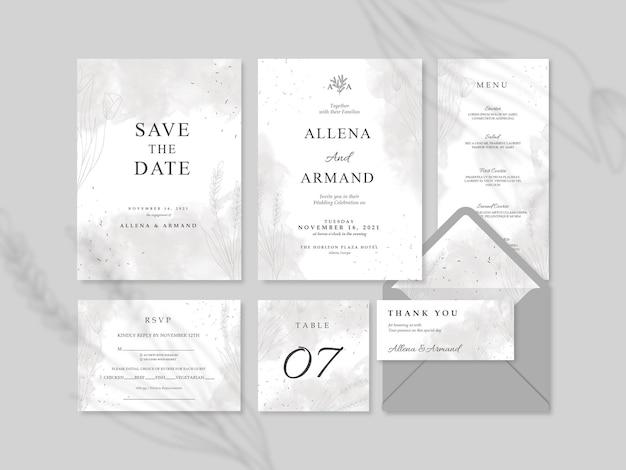 Элегантный и красивый серый свадебный шаблон канцелярских товаров