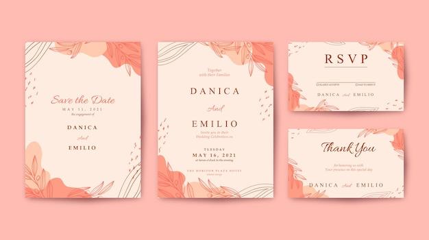 우아하고 아름다운 분홍색 결혼식 초대장 서식 파일
