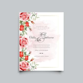 エレガントで美しい赤いバラの結婚式の招待状のテンプレート