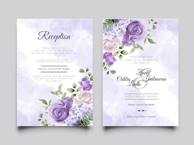 手描きの紫色のバラとエレガントで美しい結婚式の招待状のテンプレート