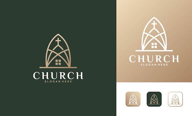 エレガントで豪華な教会の建物のロゴデザイン