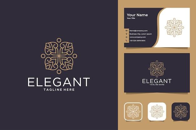 Элегантный и роскошный дизайн логотипа и визитной карточки с цветочной геометрией