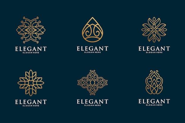 エレガントで豪華なラインアートのロゴコレクション
