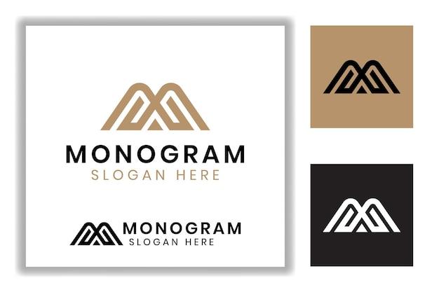 コーポレートアイデンティティのロゴのテンプレートの山のシンボルとエレガントで豪華なモノグラム文字m