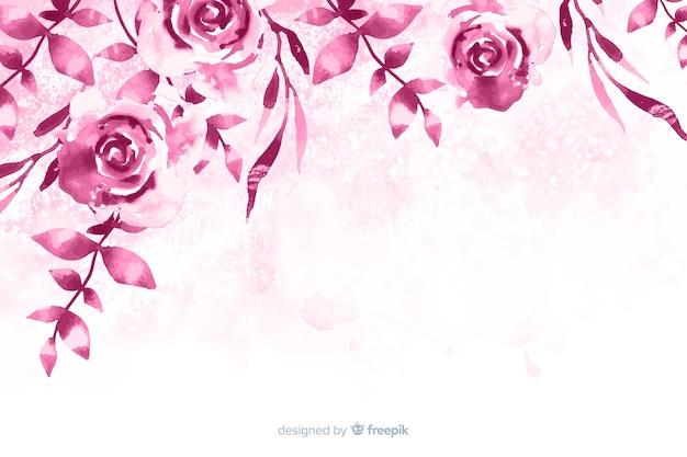 エレガントで単色の水彩花