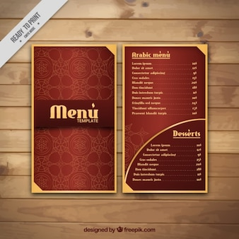 Elegant arabian menu with golden details
