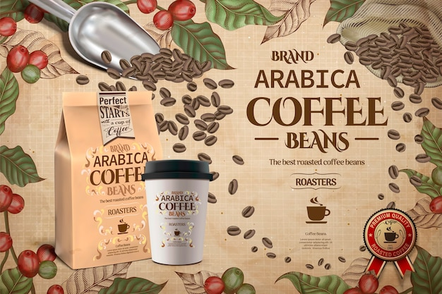 Elegant arabica coffee beans ads, engraving style coffee plants with takeaway cup and packaging in  illustration
