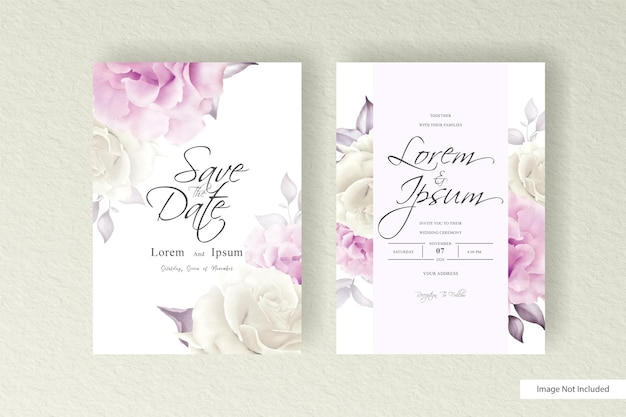 Элегантная композиция цветочные свадебные приглашения набор шаблонов дизайна