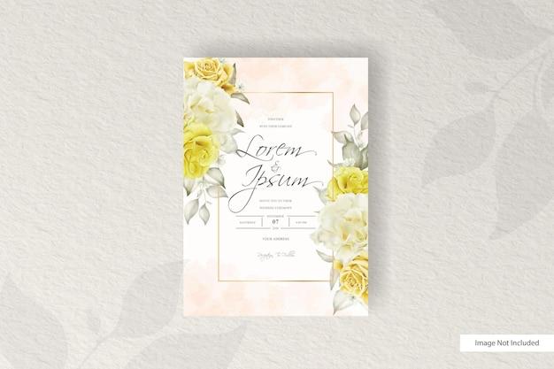 우아한 배열 꽃 청첩장 세트 템플릿 디자인