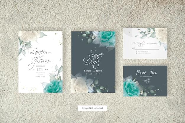 Elegant arrangement floral wedding invitation set template design