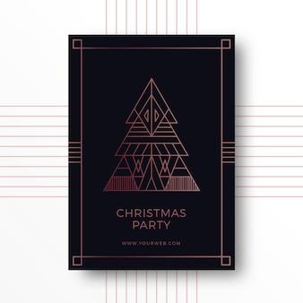 Elegant art deco christmas party card