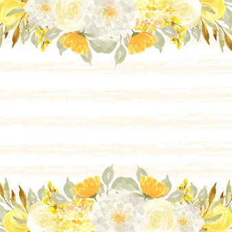 Elegant autumn background with leaves and flowers Premium Vector
