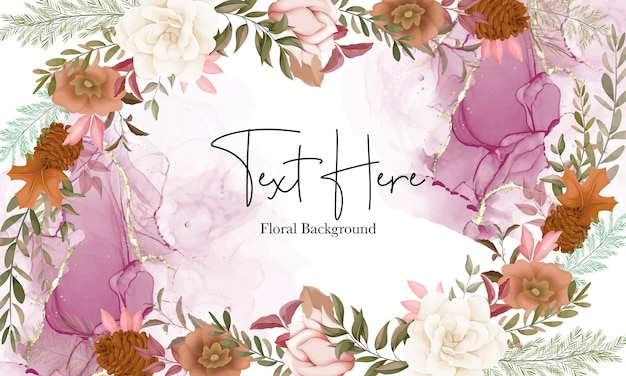 Elegant autumn floral background with rose and pine flower