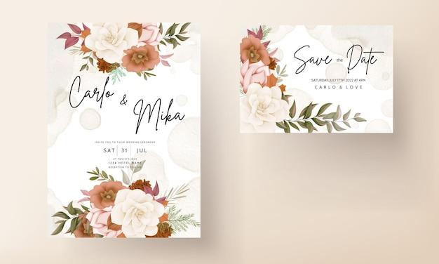 バラと松の花とエレガントな秋の花の結婚式の招待カード