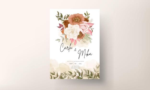 Elegante biglietto d'invito per matrimonio floreale autunnale con rosa e fiore di pino