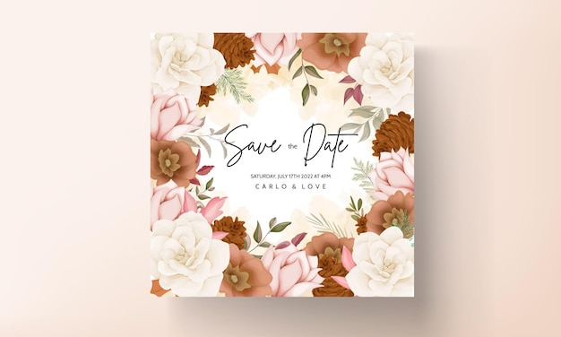 Elegant autumn floral wedding invitation card with rose and pine flower