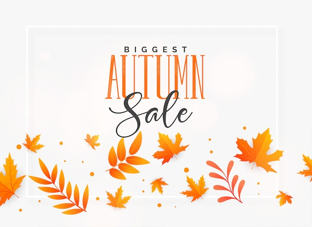 Elegant autumn sale background with flying leaves
