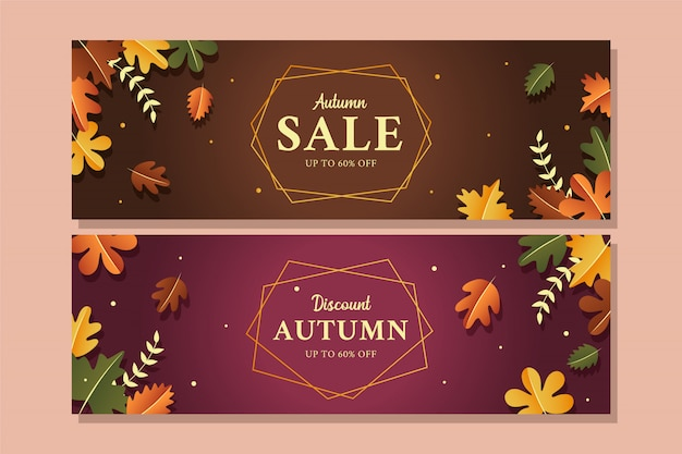 Elegant autumn sale banner
