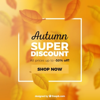 Elegant autumn sale composition with realistic design