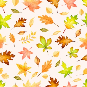 Elegant autumn seamless pattern with different autumn leaves.