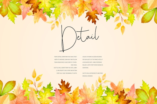 Elegant autumn wedding invitation card template