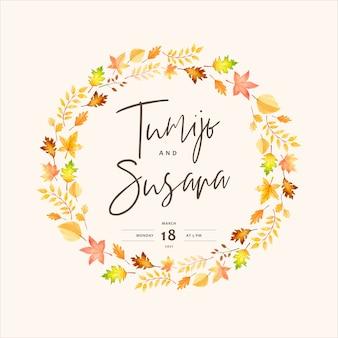 Elegant autumn wedding invitation card template