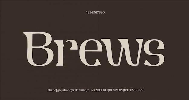 우아한 멋진 알파벳 문자 글꼴 및 숫자입니다. 독특한 세리프 글꼴.