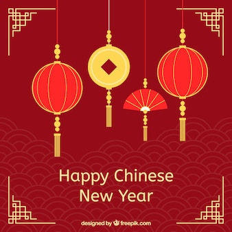 Elegant background for chinese new year with lanterns