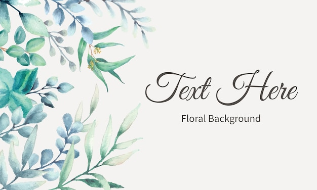 Elegant background design with watercolor leaves