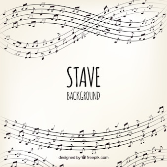 Элегантный фон пентаграмм с музыкальными нотами