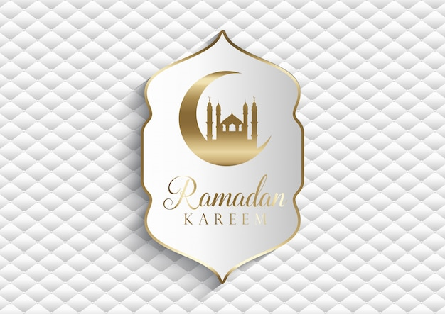 Elegant background for ramadan kareem in white and gold