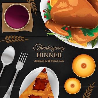 Elegant background of tasty thanksgiving dinner