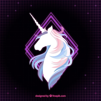Elegant background of unicorn and purple rhombus