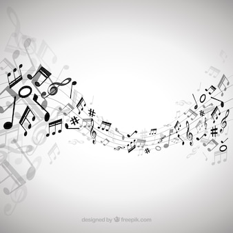 Elegant background with black musical notes