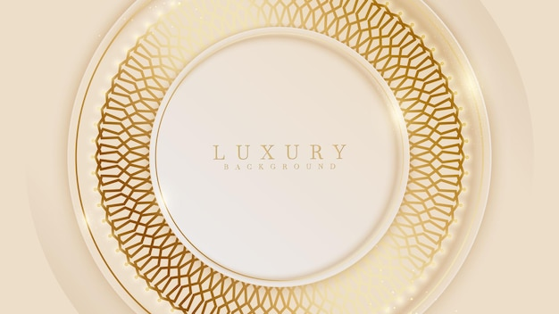 Elegant   background with circle golden line elements. realistic luxury paper cut style 3d modern concept.