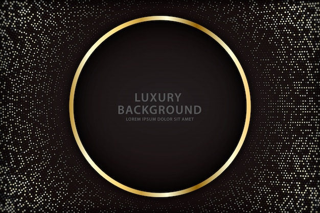 Elegant background with gold circle lines and sparkling spots