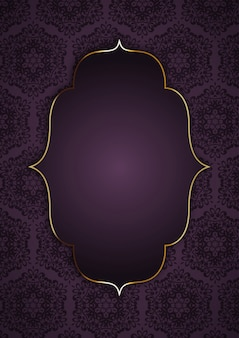 Elegant background with gold frame on decorative pattern