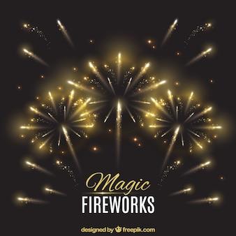 Elegant background with golden fireworks