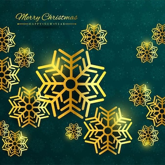 Elegant background with golden snowflakes