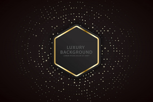 Elegant background with golden striped hexagons and sparkling spots