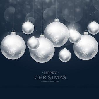 青い背景に美しいクリスマスボールの装飾