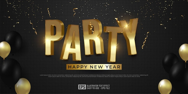 Elegant banner new year party background with luxury golden 3d text effect