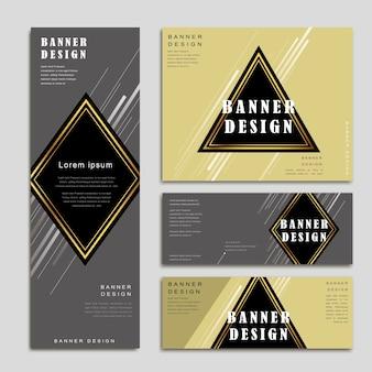 삼각형과 마름모 요소가 있는 우아한 배너 템플릿 디자인