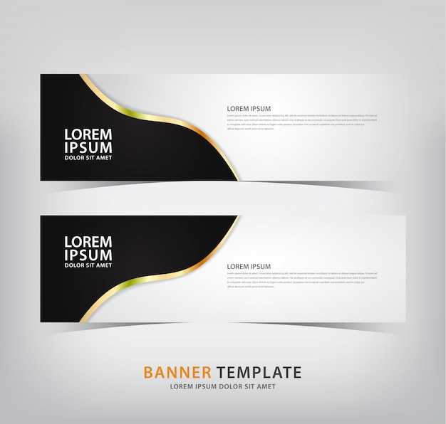 Elegant banner with black motifs and gold lines