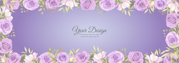 Elegant banner with rose flower and green leaves decoration