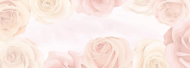 피는 장미 꽃 장식의 부드러운 색상으로 우아한 배너