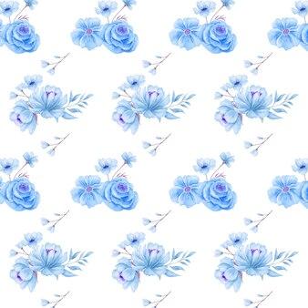 エレガントな美しい青い花のシームレスなパターン