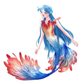 Elegant beautiful blue mermaid fantasy illustration character