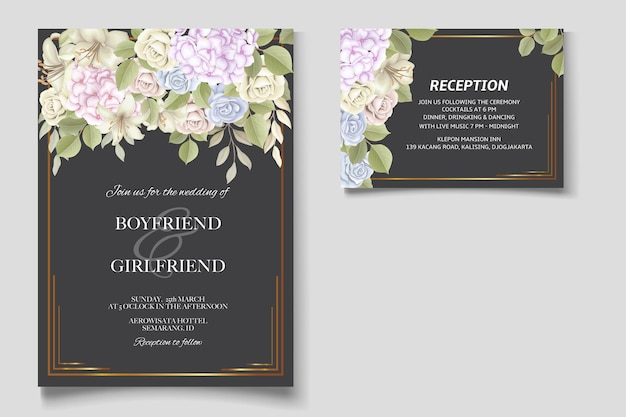 エレガントな美しい花と結婚式の招待状
