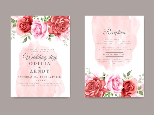 Elegant and beautiful floral wedding invitation card template